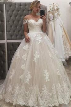 Reißverschluss A Linie Hof zug Frenal Appliques Hochzeitskleid