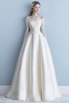 Natürliche Taille Tau Schulter Drapiert Lange Hochzeitskleid