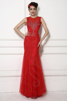 Tüll Elegante Juwel akzentuiertes Mieder Tanzparty Abendkleid
