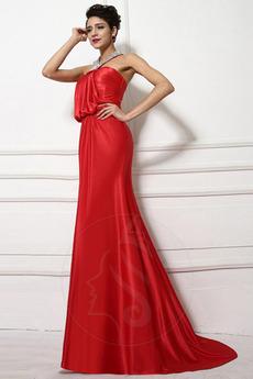 Natürliche Taille Formalen Lange Mantel Fallen Satiniert Abendkleid