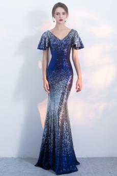 Bodenlänge Reißverschluss Lose Ärmel Pailletten Mieder Luxuriöse Abendkleid