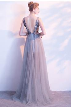 Sommer Ärmellos A Linie Lehnenlose Hochzeit Bördeln Tüll Abendkleid