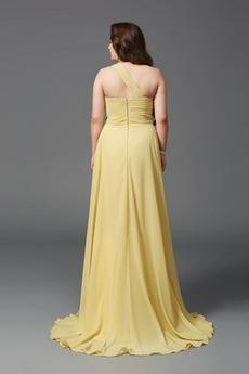 Drapiert Gefaltete Mieder Chiffon A Linie Lehnenlose Abendkleid