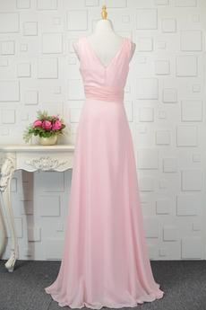 Gefaltete Mieder Tiefer V-Ausschnitt Einfache Brautjungfer kleid
