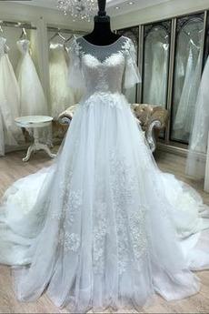 Halle Tüll Appliques Kurze Ärmel Königlicher Zug Natürliche Taille Brautkleid