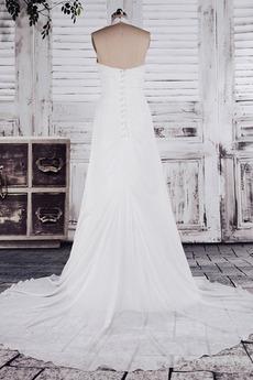Chiffon Weiß A Linie Dünn Weiß Lehnenlose Klassische Brautkleid
