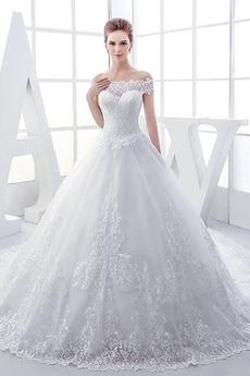 Rechteck A Linie Natürliche Taille Brautkleid mit kurzen Ärmeln