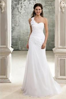 Lange Akzentuierter Bogen Natürliche Taille Schnüren Brautkleid