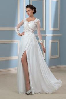 A Linie Drapiert Fegen zug Illusionshülsen Chiffon Hochzeitskleid