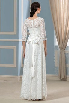 Reißverschluss Bow Spitze T Hemd Bodenlänge Schöne Brautkleid