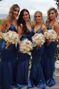 Trichter V-Ausschnitt Fest Drapiert Lange Brautjungfernkleid