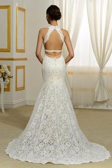 Spitze v-Hals Fallen Rückenfrei Draussen Schöne Spitze Brautkleid