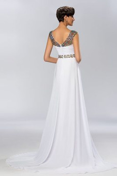 Breit flach Drapiert Kurze Ärmel Perlengürtel Lange Abendkleid