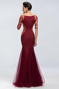Natürliche Taille Breit flach Illusionshülsen Tüll Abendkleid