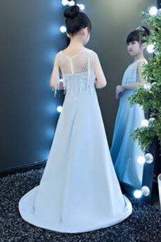 Natürliche Taille Lange A Linie Reißverschluss Blumenmädchen kleid