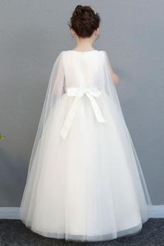 Juwel Glamourös Reißverschluss Trichter Bogen Blumenmädchen kleid