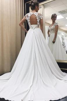 Kirche Satiniert Sommer V-Ausschnitt Frenal Appliques Hochzeitskleid