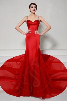 Fegen zug Lange Reißverschluss Formalen Natürliche Taille Abendkleid