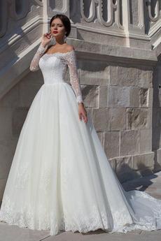 Tau Schulter hoch gedeckt Spitze Draussen Illusionshülsen Spitze Brautkleid