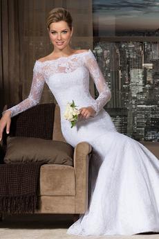 Schaltfläche Hoch bedeckt Natürliche Taille Meerjungfrau Brautkleid