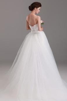 Satiniert Länge des Bodens Schärpen Rechteck Trägerlose Brautkleid