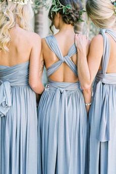 Natürliche Taille Elegante Trichter Lange Brautjungfer kleid
