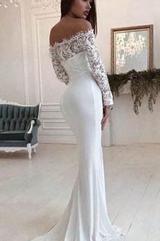 Tau Schulter Halle Lange Schöne Natürliche Taille Meerjungfrau Brautkleid