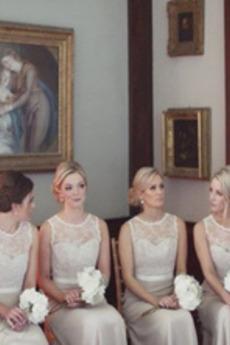 Breit flach Ärmellos A Linie Trichter Partei Brautjungfernkleid