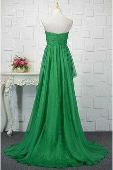 Türkis Drapiert Fegen zug Chiffon Natürliche Taille Lehnenlose Abendkleid