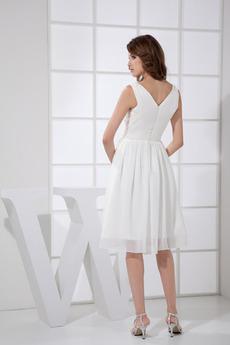 Hochzeit Drapiert Mitte zurück Einfach Chiffon Brautjungfer kleid