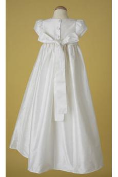 Prinzessin Satiniert Natürliche Taille Bogen Kleine Mädchen Kleid