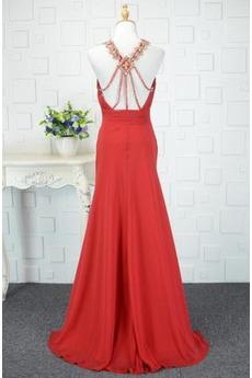 Mitte zurück Gerafft V-Ausschnitt Chiffon Natürliche Taille Abendkleid