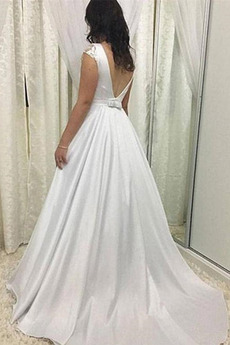 Bogen Fallen große Größe Lange Juwel Natürliche Taille Einfache Brautkleid