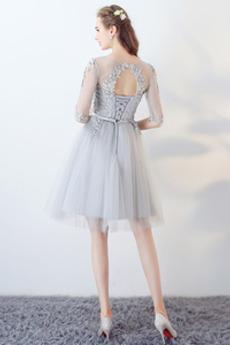Appliques Juwel Spitze Birne Illusionshülsen Brautjungfernkleid