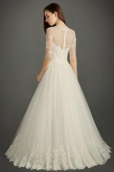 Spitze Übergröße Juwel Appliques Illusionshülsen Spitzenüberlagerung Brautkleid