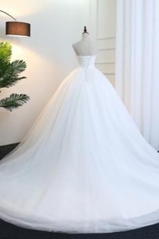 Schatz Fallen Sanduhr Gefaltete Mieder Natürliche Taille Brautkleid