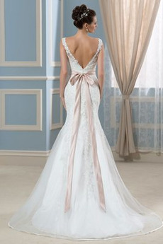 Ärmellos Bateau Natürliche Taille Akzentuierter Bogen Rückenlose Brautkleid