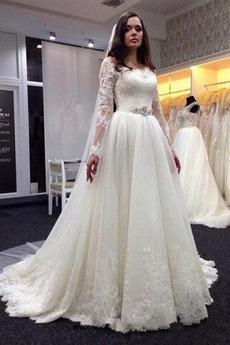 Trichter Illusionshülsen A Linie Abperleffekt Hochzeitskleid