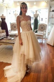 Asymmetrisch Organza Ärmellos Asymmetrisch Eine Schulter Brautkleid