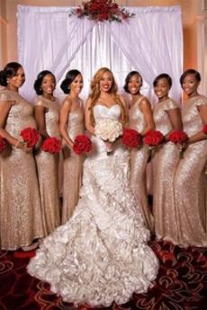 Sequiniert Tau Schulter Natürliche Taille Lange Brautjungfer kleid