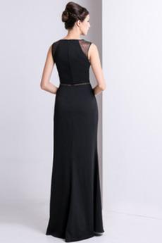 Natürliche Taille Fest Elastischer Satin Elegante Abendkleid