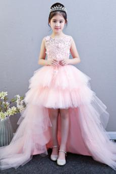 Leistung asymmetrische Ärmellos Juwel Schnüren Blumenmädchen kleid