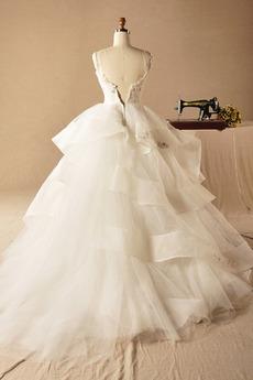 Natürliche Taille Ärmellos Bördeln Reißverschluss Tüll Brautkleid