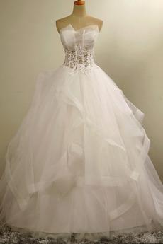 Organza Formalen Natürliche Taille Prinzessin Trägerlose Brautkleid