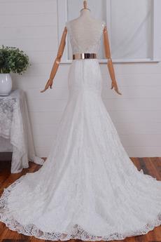Reißverschluss Ärmellos V-Ausschnitt Meerjungfrau Brautkleid