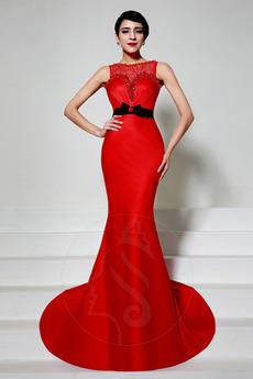 Breit flach Reißverschluss Spitze Akzentuierter Bogen Meerjungfrau Abendkleid