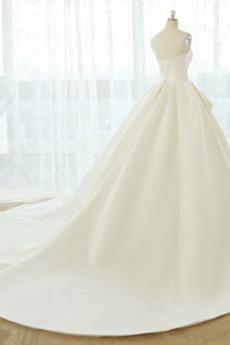 A Linie Drapiert Satiniert Schatz Birne Rückenlose Brautkleid