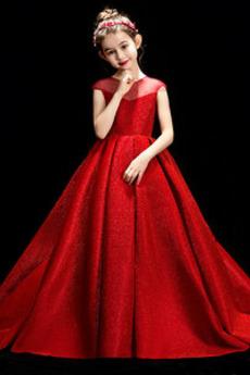 Tüll Trichter Ärmellos Juwel Leistung Fallen Kleine Mädchen Kleid