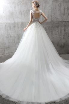 Juwel akzentuiertes Mieder Kapelle Zug Brautkleid mit kurzen Ärmeln