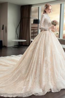 Kirche Natürliche Taille Lange Schlüsselloch zurück Hochzeitskleid